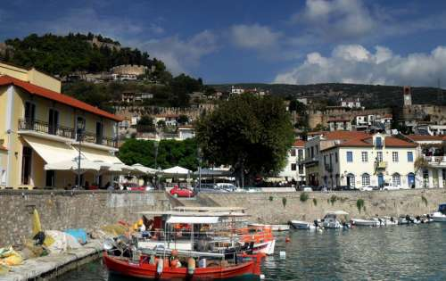 View from the port towards the fortress in Nafpaktos, Greece free photo