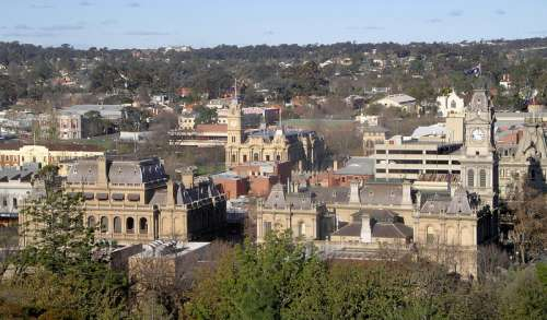 View of central Bendigo from Camp Hill in Victoria, Australia free photo