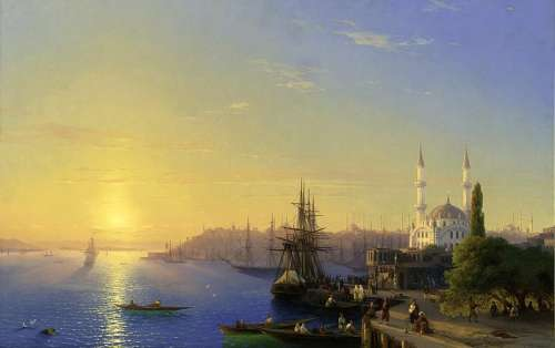 View of Constantinople and the Bosphorus in Istanbul, Turkey free photo