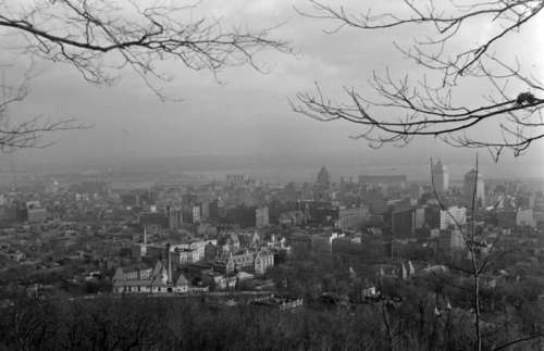View of Montreal from Mount Royal in 1939 in Quebec, Canada free photo