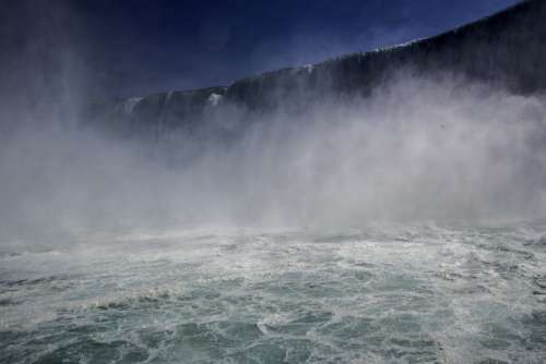 View of Niagara Falls from the bottom of the falls, Ontario, Canada free photo