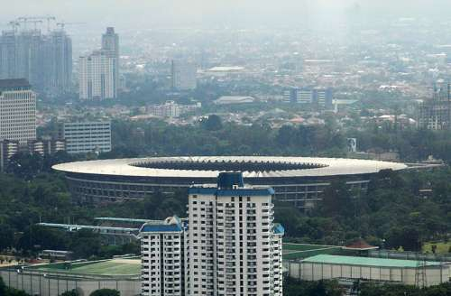 View of the city and Bung Karno Stadium in Jakarta, Indonesia free photo