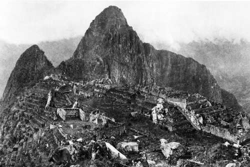 View of the city of Machu Picchu in 1912 in Peru free photo