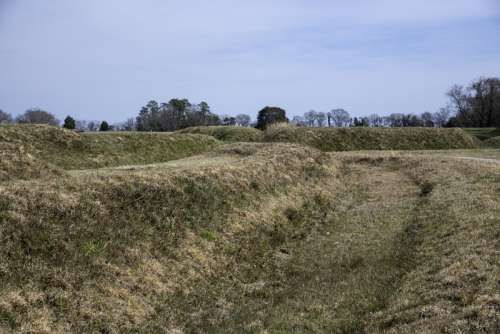 View of the Trenches on the American Side at Yorktown, Virginia free photo