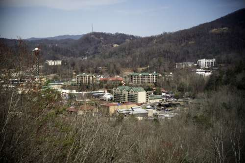 View of the Village of Gatlingburg, Tennessee in the mountains free photo
