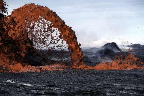 Volcano Spewing Lava at Hawaii Volcanoes National Park free photo