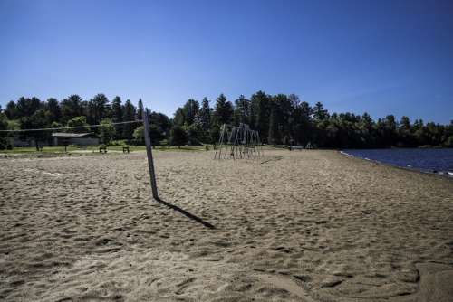 Volleyball Nets and Swings on Beach at Van Riper State Park, Michigan free photo