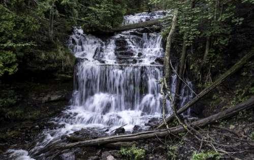 Wagner Falls landscape in Michigan free photo