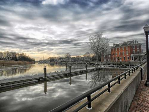 Water and Landscape under sky in Delaware City free photo