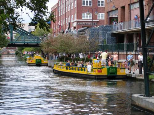 Water taxis in Oklahoma City's downtown Bricktown neighborhood free photo