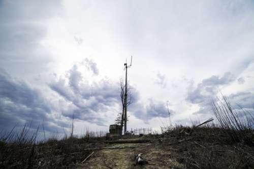 Weather Tower under the clouds at the top at Sassafras Mountain, South Carolina free photo