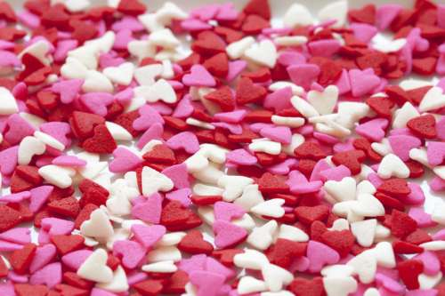 White, Pink, and Red Valentine Candy Pieces free photo