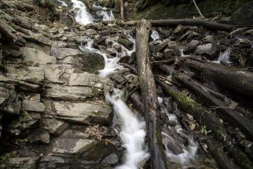 Whitewater running down rocks at Mingus Falls, North Carolina free photo