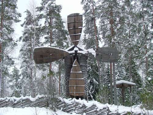 Windmill at Konnevesi Museum in the Snow in Finland free photo