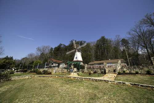 Windmill landscape in Alpine Helen, Georgia free photo
