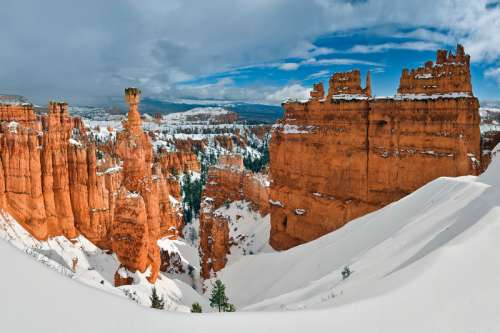 Winter Landscape with Thor's Hammer in Bryce Canyon National Park, Utah free photo