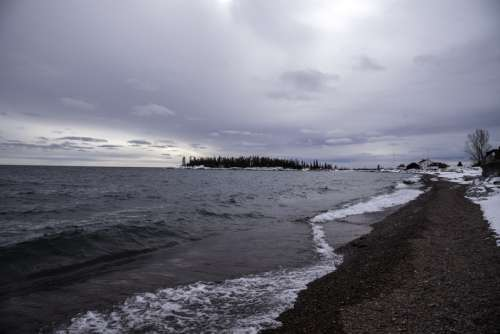 Winter Shoreline Landscape in Grand Marais, Minnesota free photo