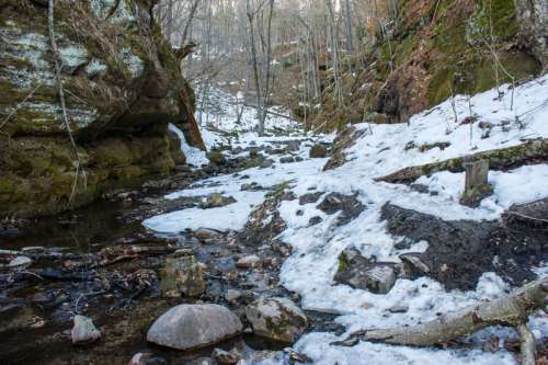 Landscape of the Gorge in the winter at Parfrey's Glen, Wisconsin - Free photos free photo