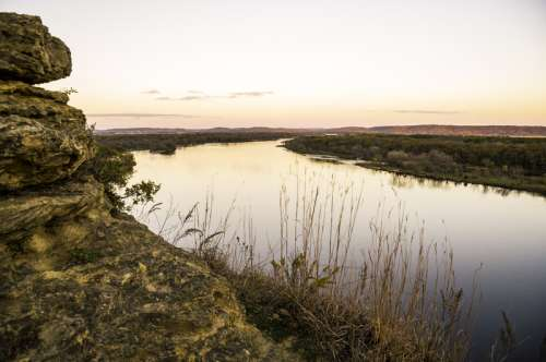 Wisconsin River Landscape at Dusk at Ferry Bluff free photo