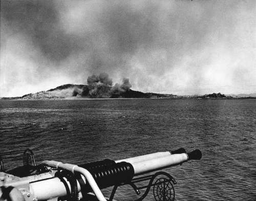 Wolmido under bombardment on 13 September 1950 in Korean War free photo