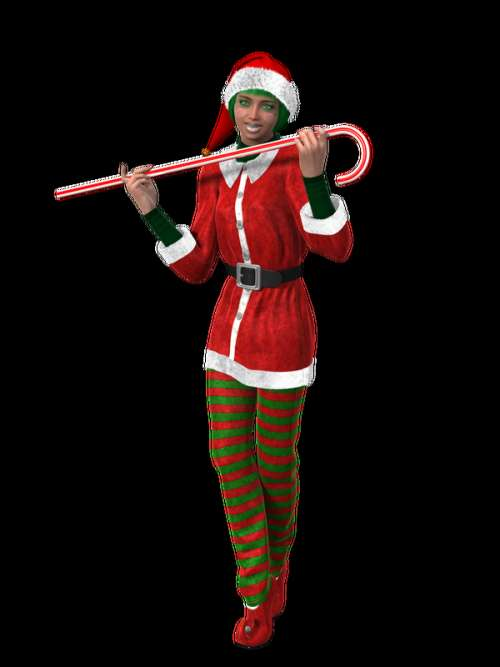 Woman with Candy Cane 3d Model free photo