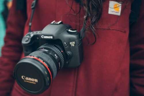 Women wearing Canon 7D Camera free photo