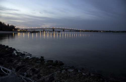Yorktown Bridge at Dusk in Virginia free photo