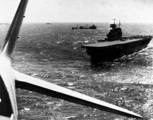 Yorktown conducts aircraft operations, Battle of Coral Sea, World War II free photo