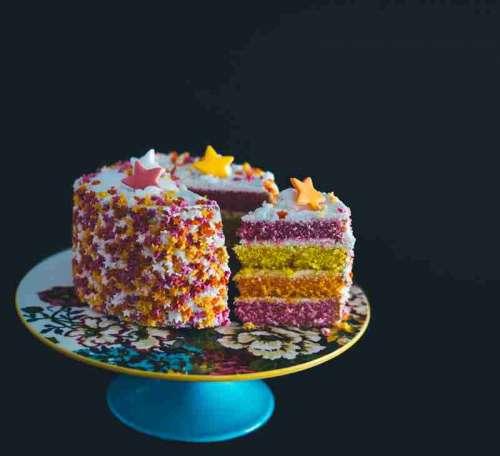 Yummy Birthday Cake on platter free photo
