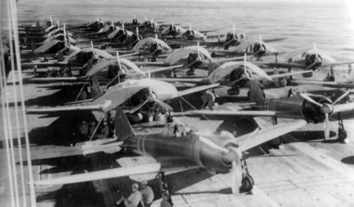 Zuikaku crewmen service aircraft  on Carrier during World War II, Battle of Coral Sea free photo