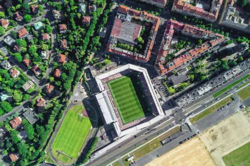 Aerial view of city with sport stadium