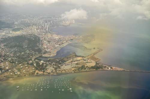 Airplane Aerial view of city colombia free image