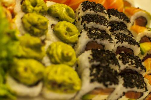 plate with wasabi and sesame sushi variety free image