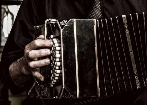 tango musician playing a bandoneon free image
