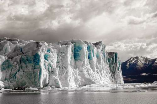 landscape of a glacier in South America with a cloudy sky free image