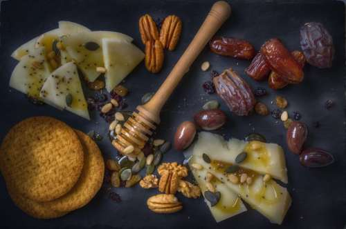 Cheese, Seeds, Olives and Crackers Stone Platter