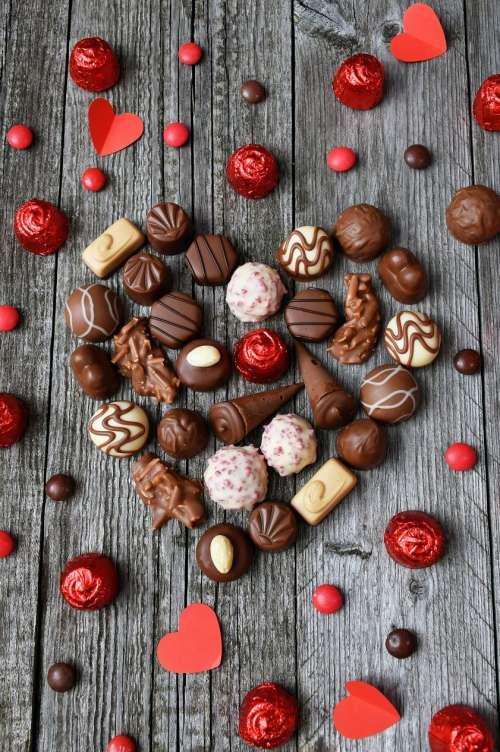Sweet Chocolate Praline in Hearth Shape