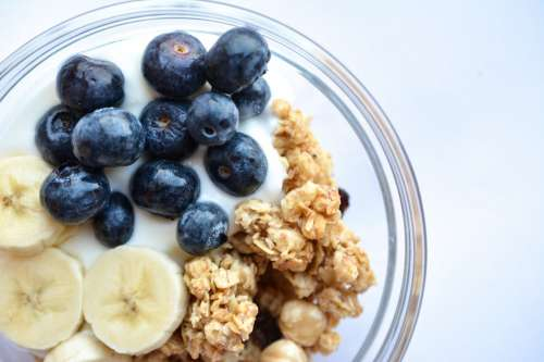 Blueberries in Müsli Fitness Breakfast from the top