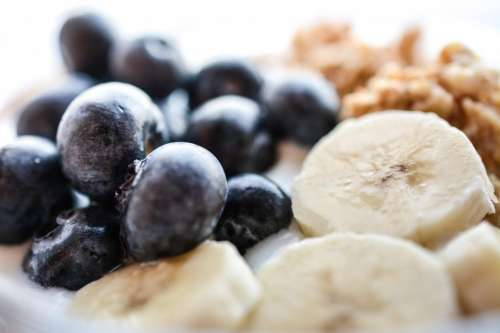 Blueberries and banana  in Müsli Fitness Breakfast