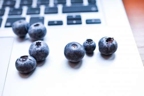 Blueberries on macbook