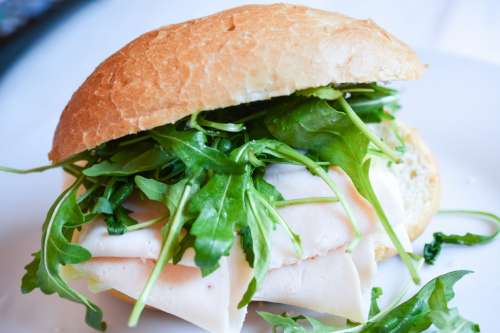 Fresh homemade baguette with rucola