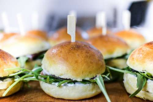 Fresh vegan burger with rucola