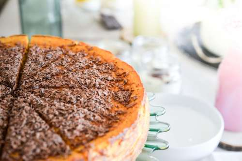 Pumpkin pie with chocolate on the top close up
