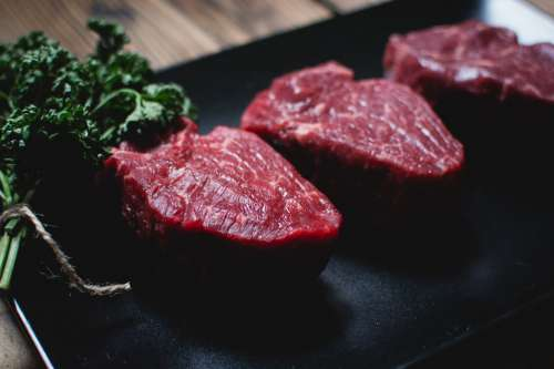 Raw beef steaks