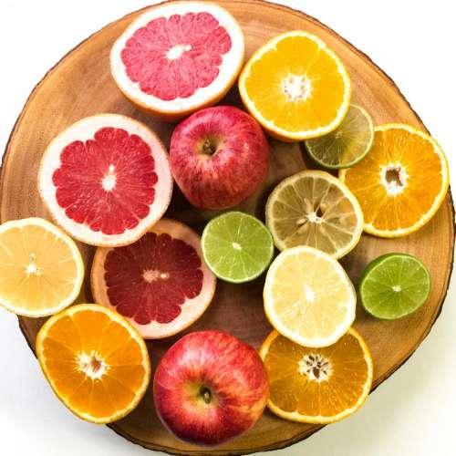 Apples chopping board citrus