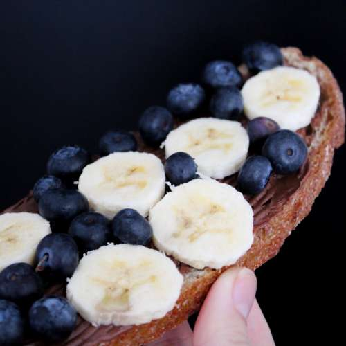 Bread with banana and blueberries
