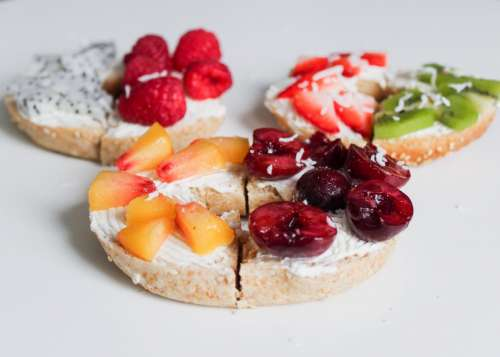 Breads with spread and fruit