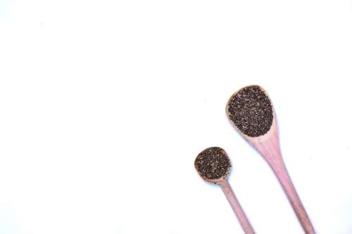Chia seeds on spoons