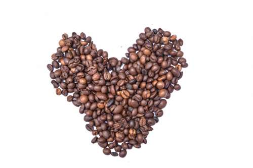 Coffee beans in hearth shape