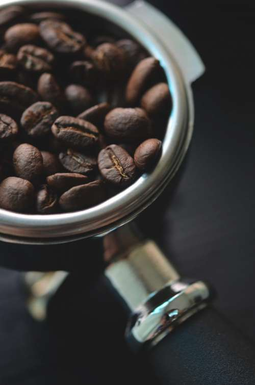 Coffee beans ready in coffee machine